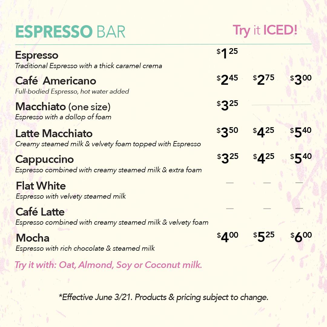 Chicken Little Cafe Espresso Menu