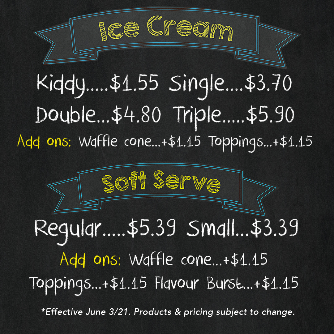 Chicken Little Cafe Ice Cream Menu