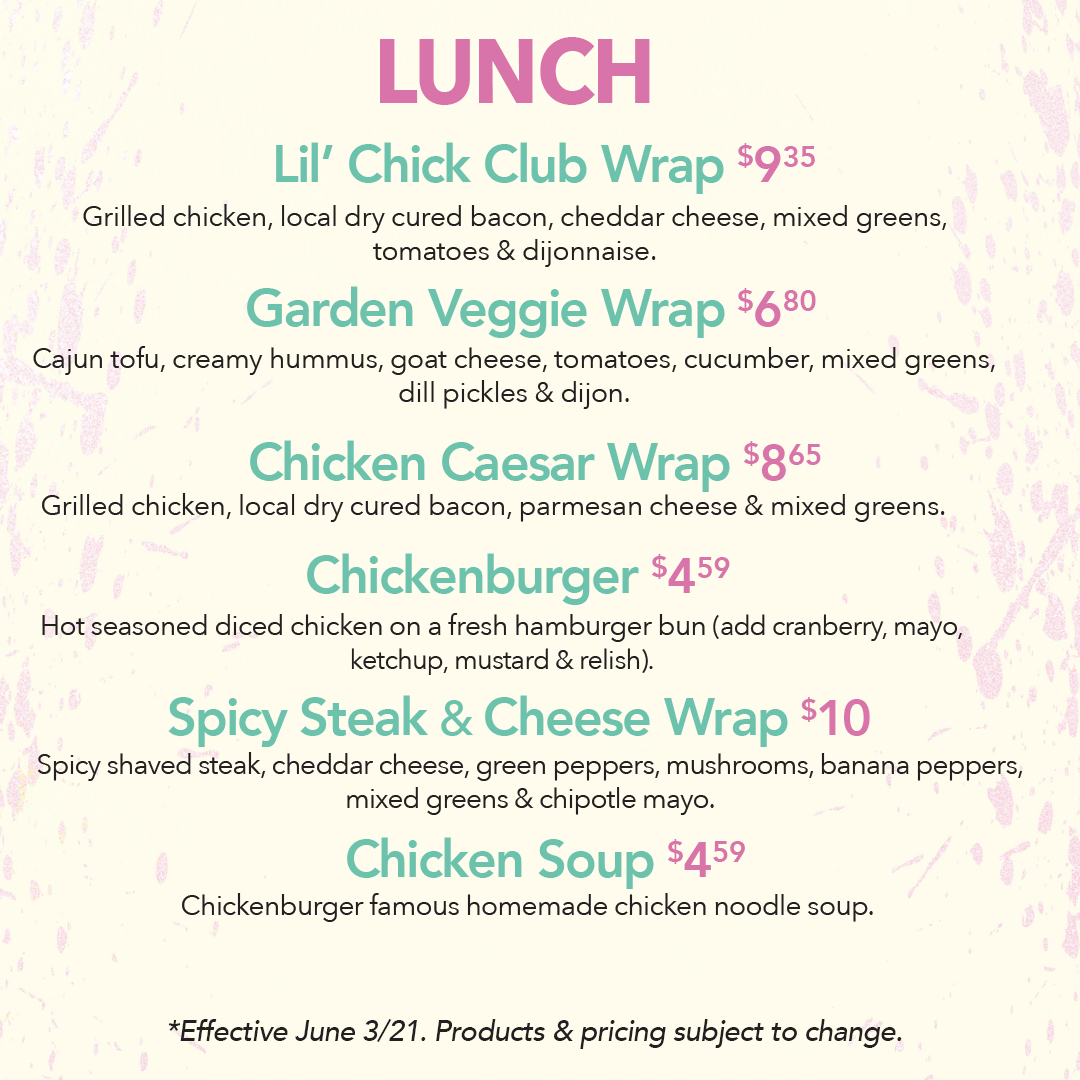 Chicken Little Cafe Lunch Menu